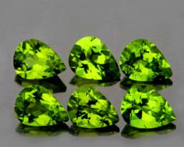 7x5 mm Pear 6 pcs 4.30cts Green Peridot [VVS]
