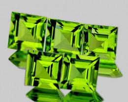 5.00 mm Square 5 pieces 3.50cts Green Peridot [VVS]
