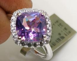 $1550 Nat 3.90 cts. Natural Purple pink topaz & Diamond Ring 10K WG