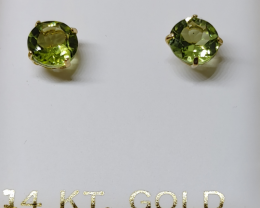 Marvelous Nat 2.20 cts Green Olive Peridot 14k YG Stud Earrings