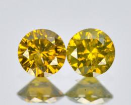 Diamond 0.14 Cts 2Pcs Sparkling Fancy Yellow Natural