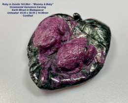 """Ruby in Zoisite 143.86ct - """"Mommy & Baby"""" Ornamental Gemstone Carvings"""
