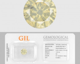 Diamond 1.02 Cts GIL Certified Sparkling Fancy Greenish Yellow Natural