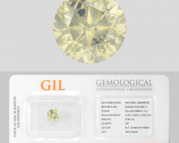 Diamond 0.95 Cts GIL Certified Sparkling Fancy Greenish Yellow Natural