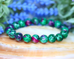 10.0mm 131.00Ct Natural Ruby Zoisite Beads Bracelet SA89