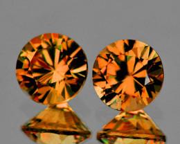 5.30 mm Round 2 pcs 1.62cts Golden Orange Zircon [VVS]