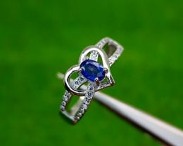 15.15CT BLUE SAPPHIRE HEAT BE 925 SILVER RING 7.5 BEST QUALITY GEMSTONE IIG
