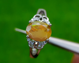 15CT FIRE FACETED OPAL 925 SILVER RING 8 BEST QUALITY GEMSTONE IIGC98
