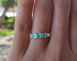 Colombian Muzo Emerald Sterling Silver ring 13.42 CT