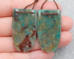 D2492 - 52.5cts natural chrysocolla earrings bead pair,handmade gemstones,g