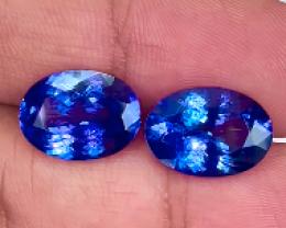 11.73 ct 14x10mm Rare Red Flash Unheated D-Block Blue Tanzanite Pair