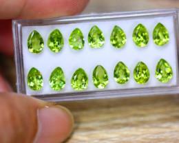 10.40ct Natural Green Peridot Pear Cut Lot GW9434