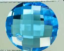 9.32 Cts Beautiful Faceted Natural Swiss Blue Topaz Round Custom Cut Ref VI
