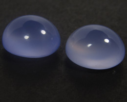 9.38Cts Calibrated Size Natural Unheated Blue Color chalcedony Oval cabocho