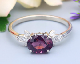 Spinel 1.05Ct VS Natural Burmese Spinel Silver Ring R08
