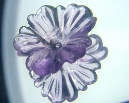 AMETHYST FLOWER CARVING GEM GRADE  5.25CTS AS-1936