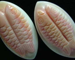CONCH SHELL FISH PAIR CARVING 33.60 CTS [PF 927]