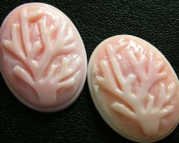 CONCH SHELL TREES PAIR CARVING 21.65 CTS [PF 934]