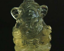 LEMON  QUARTZ  CARVING OF GANESHA   15.60 CTS  [MX 4712]