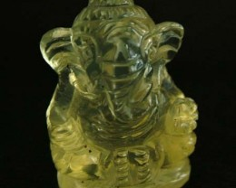 LEMON  QUARTZ  CARVING OF GANESHA   18.50 CTS  [MX 4714]