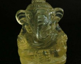 LEMON  QUARTZ  CARVING OF GANESHA   16.50 CTS  [MX 4716]