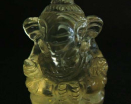 LEMON  QUARTZ  CARVING OF GANESHA  20.55 CTS  [MX 4717]