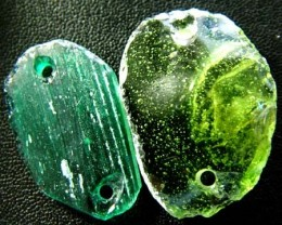 PAIR ANCIENT GLASS- AFGANISTAN-FACE DRILLED 21.85 CTS MX4767