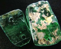 PAIR ANCIENT GLASS- AFGANISTAN-FACE DRILLED 24.80 CTS MX4769