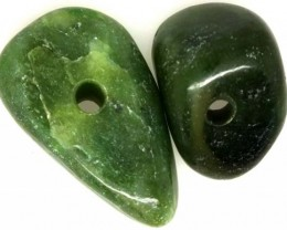 NATURAL SOLID JADE BEAD 2 PC 34.80 CTS TBG-1667