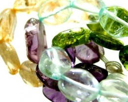 FOUR DIFERENT  COLOURFUL STONES  IN STRAND 74.80 CTS GT 1567