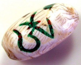 SHELL BEAD WITH SYMBOL *OM* 39 CTS AS-2061