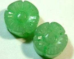 JADE CARVED FLOWER BEADS DRILLED 4 PCS 6 CTS NP-1146