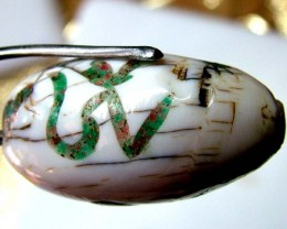 SHELL BEAD WITH SYMBOL *OM*  43 CTS   AS-2142