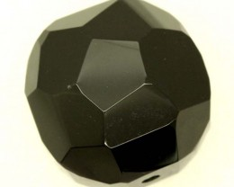 BLACK ONYX BEAD FACETED  124 CTS   ADG-789
