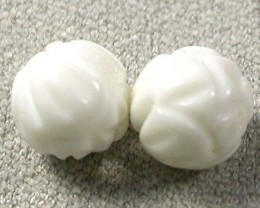 SHELL CARVED BEADS DRILLED  6 CTS    AS-2200