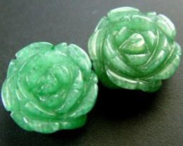 PAIR ADVENTURINE FLOWER CARVINGS-1/2 DRILLED 20.80CTS MX4780