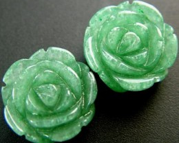 PAIR ADVENTURINE FLOWER CARVINGS-1/2 DRILLED 20.30CTS MX4785