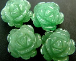 FOUR ADVENTURINE FLOWER CARVINGS-1/2 DRILLED 31.45CTS MX4789