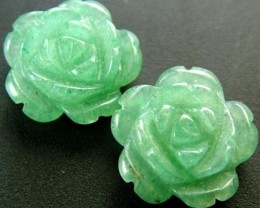 PAIR ADVENTURINE FLOWER CARVINGS-1/2 DRILLED 12.80CTS MX4792