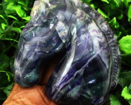 Genuine 2105.00 Cts Multicolor Fluorite Horse Head