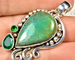 61.5 Tcw. African Chrysocolla & Emerald Doublet, Sterling Silver Pendant wi