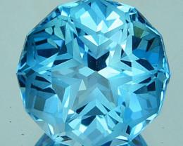 4.78 Cts Genuine 100% Natural Swiss Blue Topaz Fancy Round Custom Cut REF V