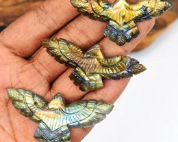 Genuine 154.00 Cts Golden & Green Flash Labradorite Carved Eagle Set