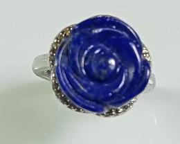 Natural Kyanite  Rose Carving Silver Ring