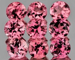 3.00 mm Round Machine Cut 9 pcs 1.10cts Pink Tourmaline [VVS]