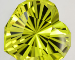 15.82 Cts Mouthwatering Natural Lemon Quartz Fancy Heart Custom Cut REF VID