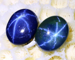 Blue Star Sapphire 5.96Ct 2Pcs 6 Rays Natural Blue Star Sapphire C0618