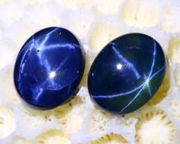 Blue Star Sapphire 5.65Ct 2Pcs 6 Rays Natural Blue Star Sapphire C0628