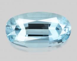 Exquisite custom precision-cut medium blue aquamarine.
