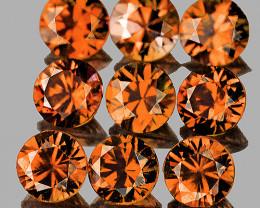 3.00 mm Round 9 pcs 1.50cts Imperial Orange Zircon [VVS]